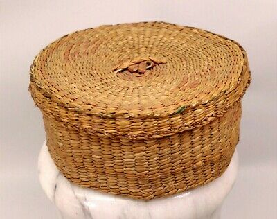 VINTAGE HANDMADE NATIVE AMERICAN INDIAN SWEET GRASS BASKET WITH LID TRINKET BOX
