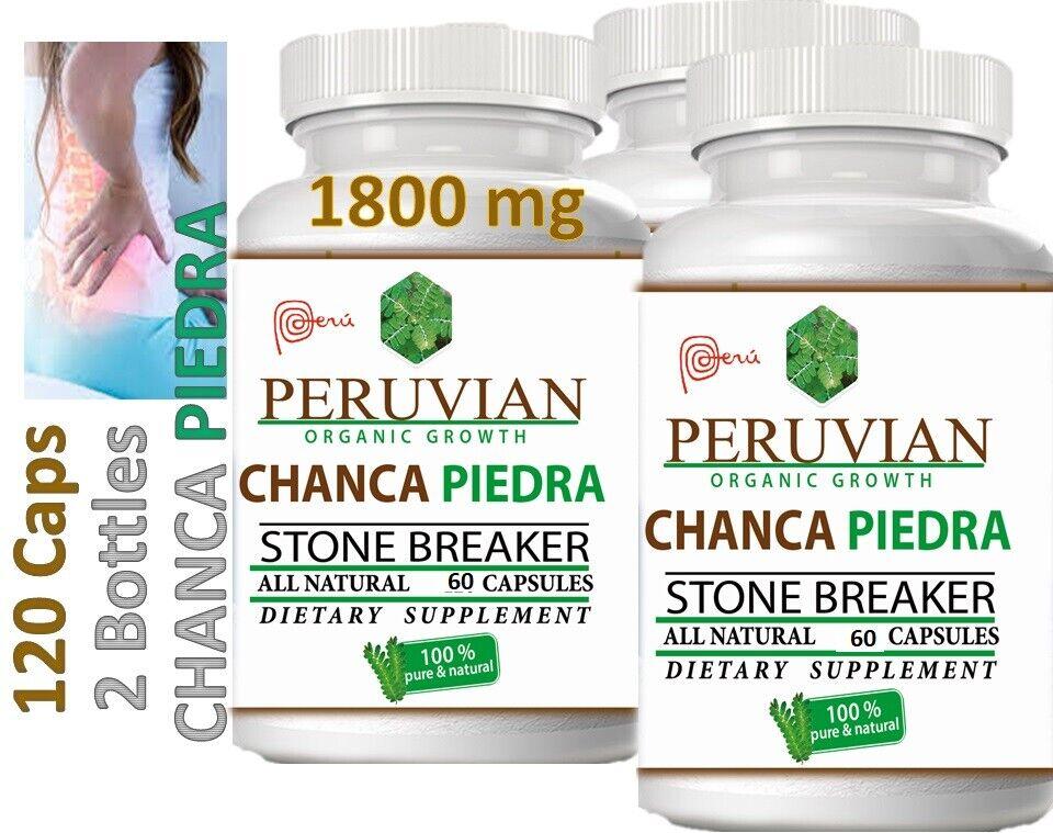 KIDNEY Stone Breaker Dissolver Chanca Piedra 1800mg 120 Caps PERUVIAN ORGANIC GR 1