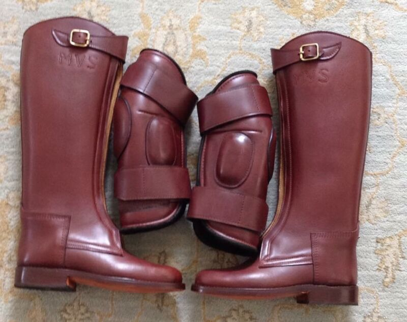 Polo-boots-Giribet-Argentine-hand-made & matching leather knee pads
