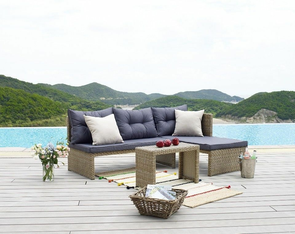 Garden Furniture - New 3 Piece Garden Sofa Lounge Furniture Set Conservatory Patio Outdoor Rattan