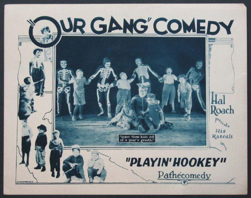 PLAYIN' HOOKEY OUR GANG FARINA JOE COBB 1928 LOBBY CARD