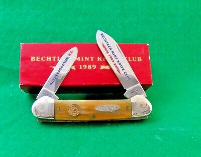 VINTAGE 1989 CASE XX USA BECHTLER MINT KNIFE CLUB CANOE KNIFE;NR 1 / 100