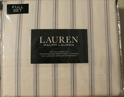 Classic Stripe Sheet Set (Ralph Lauren Full Sheet Set Striped Lilac Green 4pc Bed Cottage Country Classic )