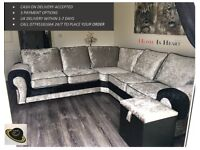 BRAND NEW* Crushed velvet tango sofa collection also available as a 3+2 seat set**CLICK SEE ALL ADS