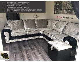 * * THE HOME IS HEART BLACK FRIDAY SALE * LUXURY CRUSHED VELVET/CORD FABRIC SOFAS * UK DELIVERY *