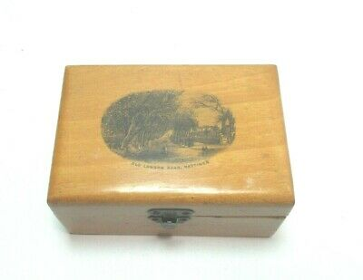ANTIQUE MAUCHLINE TRANSFER WARE SMALL WOODEN BOX OLD LONDON ROAD HASTINGS