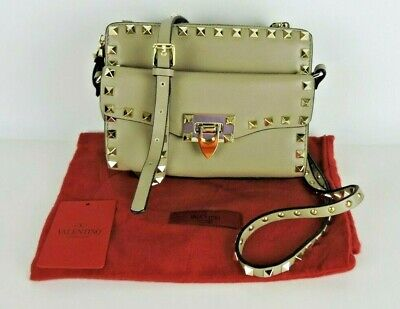 "VALENTINO GARAVANI Beige Leather ""Rockstud"" Shoulder Bag with detachable Clutch for sale  Palm Springs"