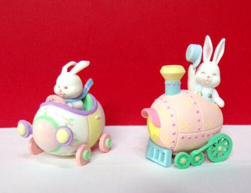 Miniature Spring Easter RABBIT BUNNY CAR TRAIN Plastic 1990 Enesco Figurines