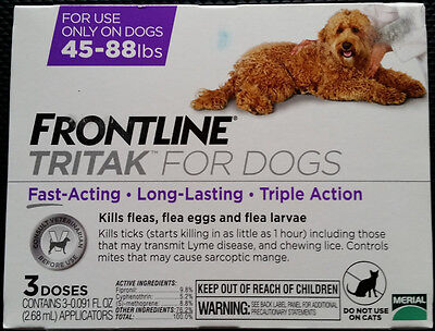 FRONTLINE TRITAK Flea & Tick for L dogs 45-88 lbs 3-dose **SEALED NEW IN BOX**