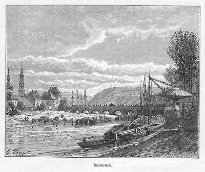 Saarbrücken, Original-Holzstich von Clerget von 1888