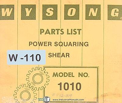 Wysong 1010 Power Shear Parts List Manual 1979