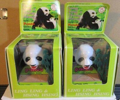 2 Vintage ~ Wind-Up Panda Saving Banks. Ling Ling & Hsing Hsing. Everlast. Box