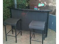 Black Glass Topped Outdoor Bar & 2 STools