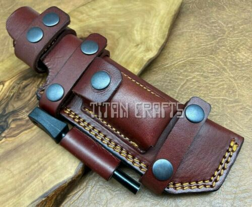 TITANs Premium Cowhide Leather Sheath for Scout Bushcraft Camping Hunting Knives