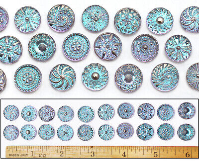 14mm Czech Glass Blue Lilac FLASH AB SHANKLESS No Shank Cabochon Buttons 20pc - Cheap Buttons