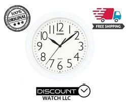 New IQ-01S-7D Casio Analog Quartz Round White Resin Wall Clock WHITE DIAL