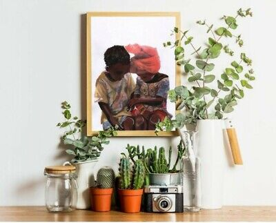A4 print Two African Children Print high quality paper and print
