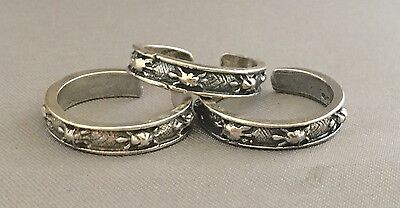 Turtles in a row toe ring genuine .925 sterling silver