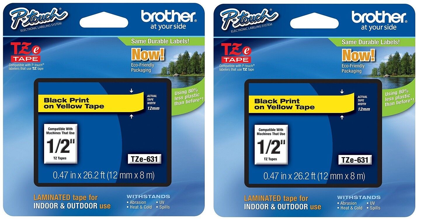 2 Packs – Brother TZe631 – 12mm 1/2″ Black on YELLOW- P-Touch TZ tape Blank Labels