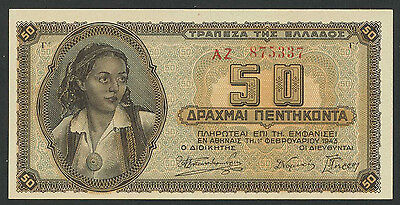 Griechenland / Greece 50 Drachmen 1943 Pick 121 (1)