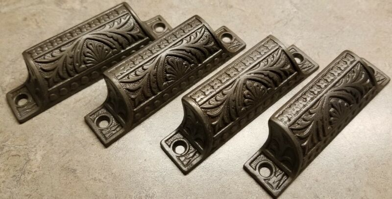 """4 Antique Matching Cast Iron Embossed Ornate Drawer Pulls 3.75"""" Handles CLEANED"""