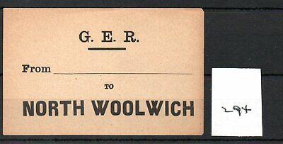 Great Eastern Railway. GER - Luggage Label (294) North Woolwich