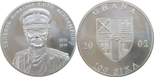 2002 Ghana 100 Sika Silver Uncirculated X# 25