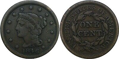 1846 1C Braided Hair Large Cent Small Date Fine