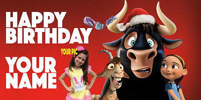 "Birthday banner Personalized ""FERDINAND"" w/your Photo and Name 6x3 f"