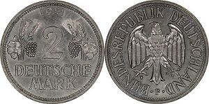 Germany-2-Mark-1951-F-Brilliant-Uncirculated