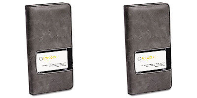 Rolodex Identity Business Card Book 96 Card Capacity Blackgray 2 Packs