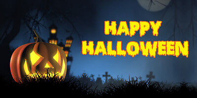 Birthday banner Personalized HAPPY HALLOWEEN (2) w/ your pic & Name 6x3feet](Halloween Your Photo)