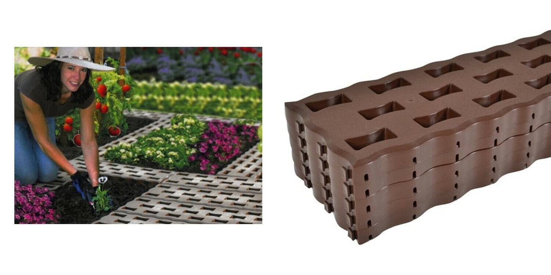 Beetplatten Gehwegplatten Bodenplatten Platten Rasenplatten Kunststoff Braun 8 T