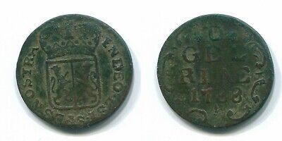 1788 GELDERLAND 1 DUIT DUTCH REPUBLIC NETHERLANDS #S11855U