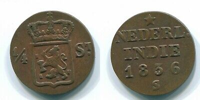 1836 NETHERLANDS EAST INDIES (Sumatra) 1/4 STUIVER Copper Colonial #S11679UW