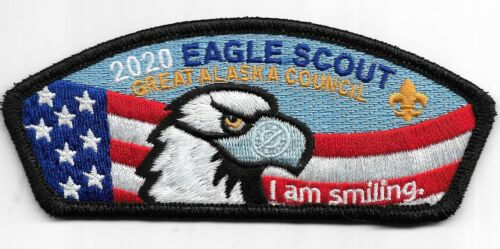 "GREAT ALASKA COUNCIL * 2020 EAGLE SCOUT CSP * "" I AM SMILING "" MASK UP"