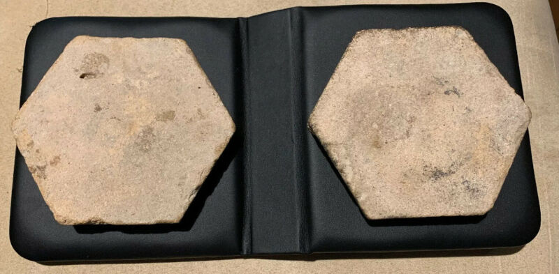 The Alamo Two Tile Pieces Excavated Early 1900s San Antonio Texas Rare & Antique