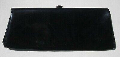 1950s Handbags, Purses, and Evening Bag Styles 1950's GARAY PATENT LEATHER BAG LONG DIVIDED CLUTCH Vintage BLACK PINK Handbag $14.99 AT vintagedancer.com