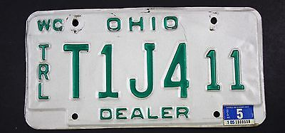 Vintage 1985 Original OHIO Watercraft trailer Dealer License Plate T1J4