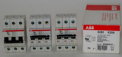 (3) Three ABB S283-K20 Miniature Circuit Breakers - S280 - 3P - K - 20A - 480VAC