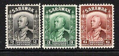 Sarawak 1934-41  3x stamps 2c SG107a, 3c SG108a, 6c SG111a M/Mint