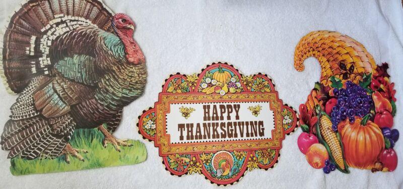 Lot of 3 Vtg 1960s Thanksgiving Turkey Cornucopia Decorations Paper Cardboard