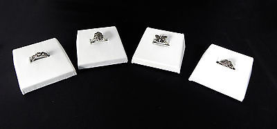 Four White Faux Leather Ring Displays Jewelry Slanted Slot Slotted Display
