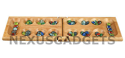 Mancala Game Set - Mancala Game Set Wooden Folding Hinged Board Clear Glass Gemstone Pieces Kids FS