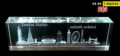 LONDON SKYLINE CRYSTAL GLASS GIFT 3D - LONDON SOUVENIRS GIFT