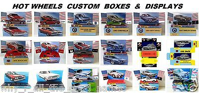 Various HOT WHEELS 1:64 Scale Die-Cast Model Toy Cars with Custom Display / Box