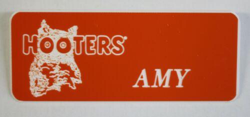 HOOTERS RESTAURANT GIRL AMY ORANGE NAME TAG (PIN) - Waitress Tag