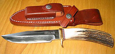"Randall Made Knives – 5"" blade – beautiful stag handle – sheath – stone"