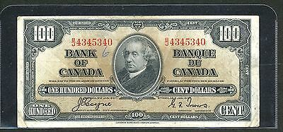 1937 $100 ONE HUNDRED DOLLARS BANK OF CANADA BANKNOTE VINTAGE BILL OF GEORGE VI