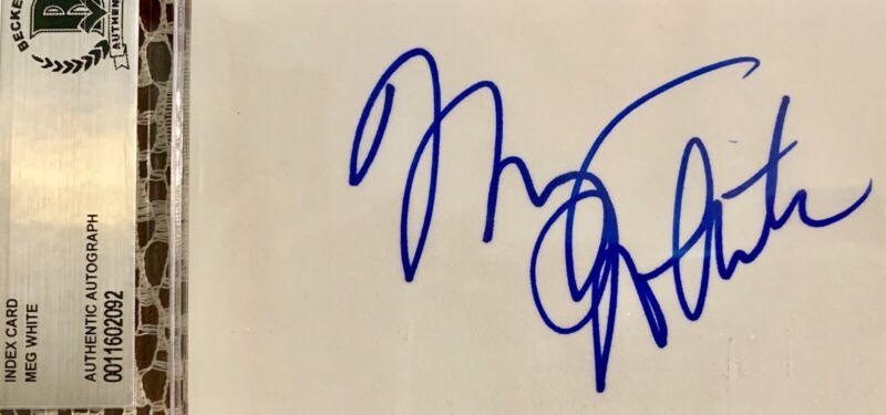 MEG WHITE Vintage Signed Beckett Authentic Index Card BAS Jack WHITE STRIPES